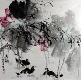 孙克升(河北美协会员)国画花鸟画 四尺斗方《清趣》荷花 鸭子