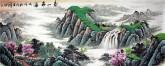 (预定)墨宇(周卡)国画聚宝盆山水画 小六尺横幅《春山飞瀑》1.8米