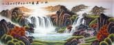 (预定)墨宇(周卡)国画聚宝盆山水画 小六尺横幅《秋山飞瀑》1.8米