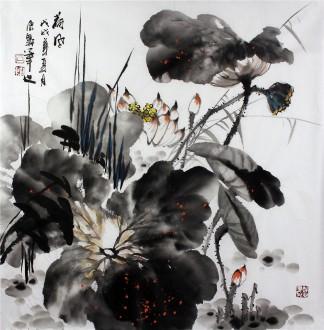 石云轩 国画写意花鸟画 四尺斗方 荷风 荷花14 3