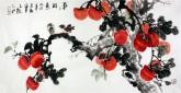 (已售)石云轩(广西美协) 三尺横幅《事事如意》柿子14-20