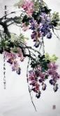 石云轩 国画花鸟画 四尺竖幅《紫气东来》紫藤14-10