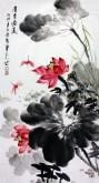 石云轩(广西美协) 三尺竖幅《清香溢远》荷花14-3