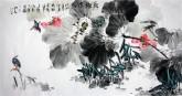 (已售)石云轩 国画花鸟画 四尺横幅《荷塘清趣》荷花14-4
