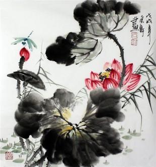 石云轩 国画写意花鸟画 三尺斗方 荷花蜻蜓14 9