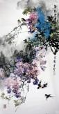 石云轩 国画花鸟画 四尺竖幅《紫气东来》紫藤14-8