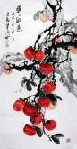 石云轩(广西美协) 三尺竖幅《事事如意》柿子14-10