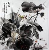 石云轩 国画写意花鸟画 四尺斗方《荷风》荷花14-3