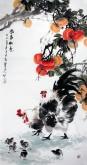 石云轩 国画花鸟画 四尺竖幅《事事如意》柿子公鸡14-12