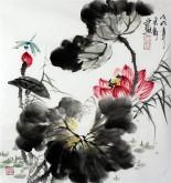 石云轩 国画写意花鸟画 三尺斗方 荷花蜻蜓14-9