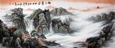 墨宇(周卡)国画聚宝盆山水画 小六尺横幅《旭日东升》1.8米