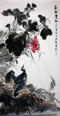 石云轩 国画花鸟画 四尺竖幅《荷塘清趣》荷花鹭雁15-5