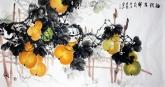石云轩 国画花鸟画 四尺横幅《福禄吉祥》葫芦15-1