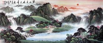(预定)墨宇(周卡)国画聚宝盆山水画 小八尺横幅 2.4米《碧水春晓千峰秀》