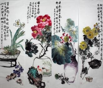 石云轩 国画写意花鸟画 四条屏《清供四条屏》1-1