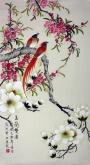 凌雪 三尺竖幅 国画花鸟画《玉兰双雀》玉兰花2-8