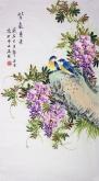 (已售)凌雪 三尺竖幅 国画花鸟画《紫气东来》紫藤2-17