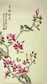 凌雪 三尺竖幅 国画花鸟画《玉兰双雀》玉兰花2-9