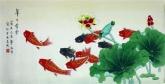 凌雪 三尺横幅 国画花鸟画《年年有余》荷花鲤鱼2-16
