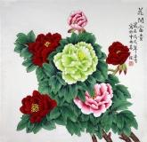 凌雪 四尺斗方 国画花鸟画《花开富贵》牡丹13-3