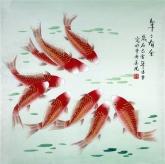 凌雪 四尺斗方 国画风水九鱼图《年年有余》鲤鱼13-15