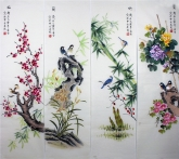 凌雪 国画花鸟四条屏《梅兰竹菊》 2-2