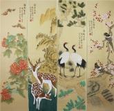 (已售)凌雪 国画花鸟四条屏《福禄寿喜》 2-4