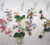 凌雪 国画花鸟四条屏《春夏秋冬》 2-10