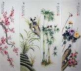 凌雪 国画花鸟四条屏《梅兰竹菊》 2-3