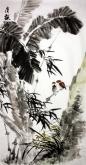 石云轩 国画花鸟画 四尺竖幅《清韵图》芭蕉竹子兰花3-4