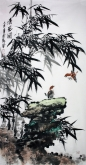 石云轩 国画花鸟画 四尺竖幅《清风图》竹子3-6