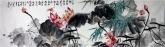 石云轩 国画写意花鸟画 六尺对开横幅《六月乡间野趣多》荷花3-1