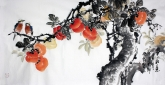 石云轩 国画花鸟画 三尺横幅《事事如意》柿子201-4