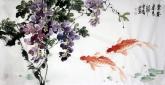 石云轩 国画花鸟画 三尺横幅《紫气东来》紫藤鲤鱼201-5
