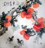 石云轩 国画写意花鸟画 三尺斗方《事事大吉》柿子鸡-1
