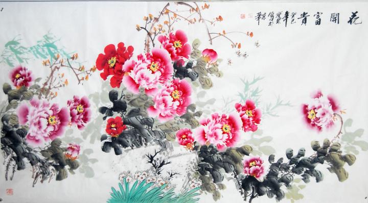 中原牡丹王 画家王宝钦 六尺横幅国画写意牡丹 客厅挂字画 新家装修装
